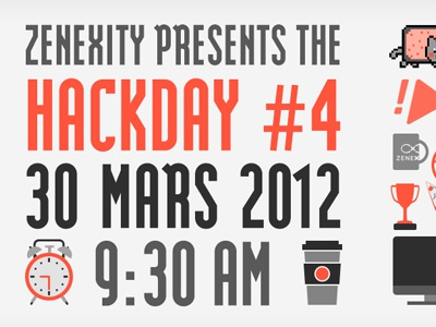 Poster for the 4th Zenexity Hackday  poster hackday icons font modula geek red