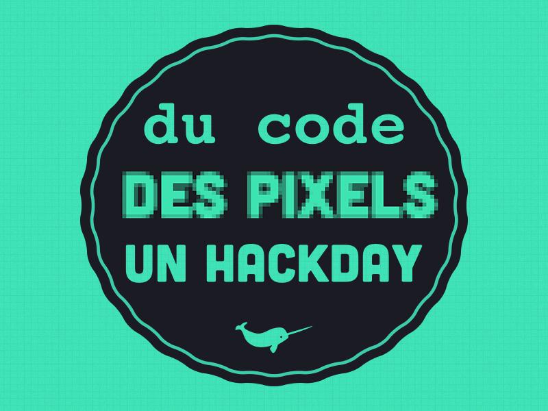 Du code, des pixels, un hackday ! stamp logo code pixels hackday grid green fluo narwhal simple