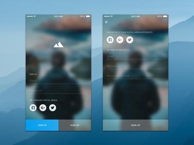 Sign in UI ios minimal application app interface ux ui