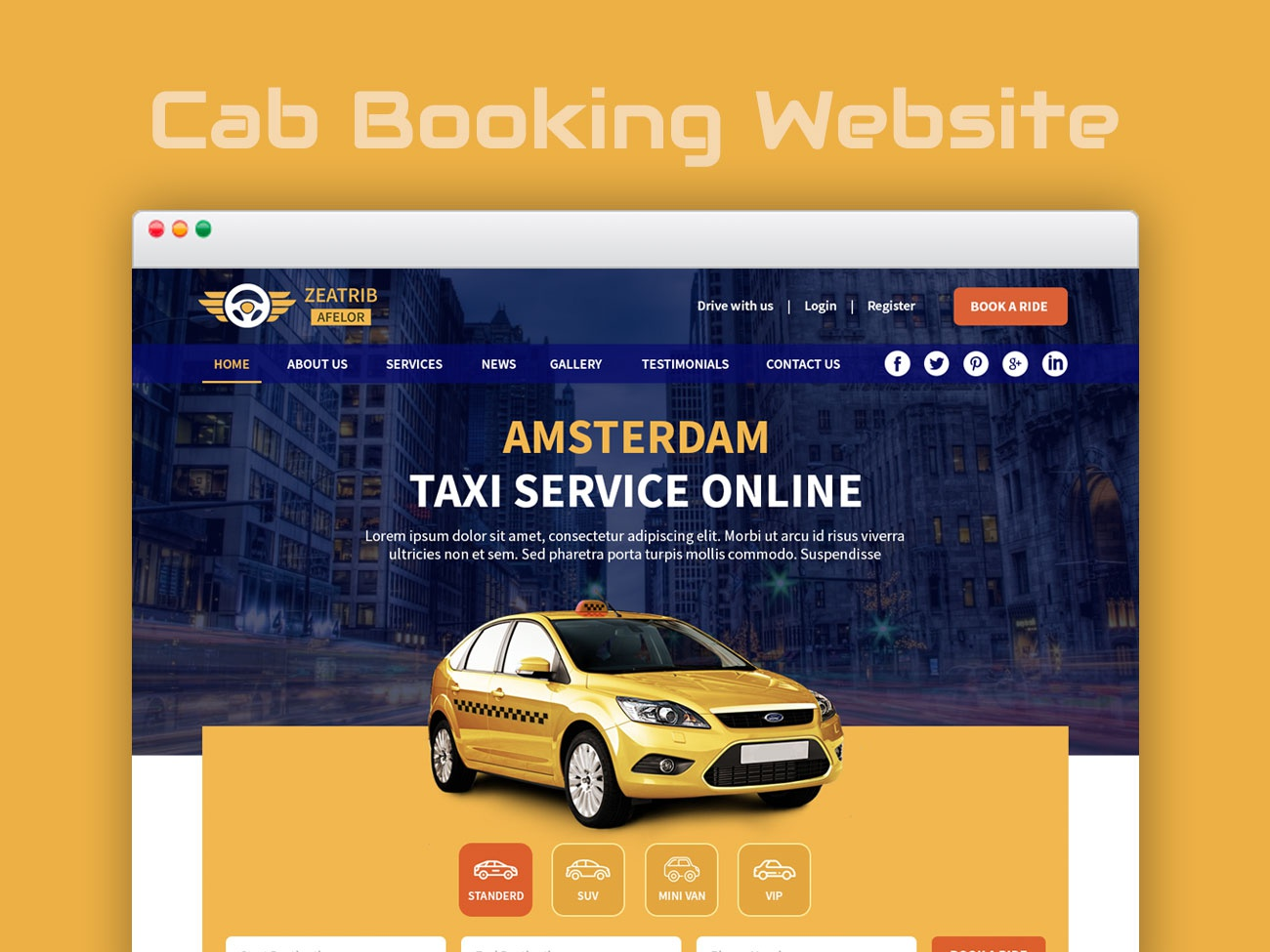 Taxi Booking Website UI/UX taxi booking template design taxi cab booking cab website template website design