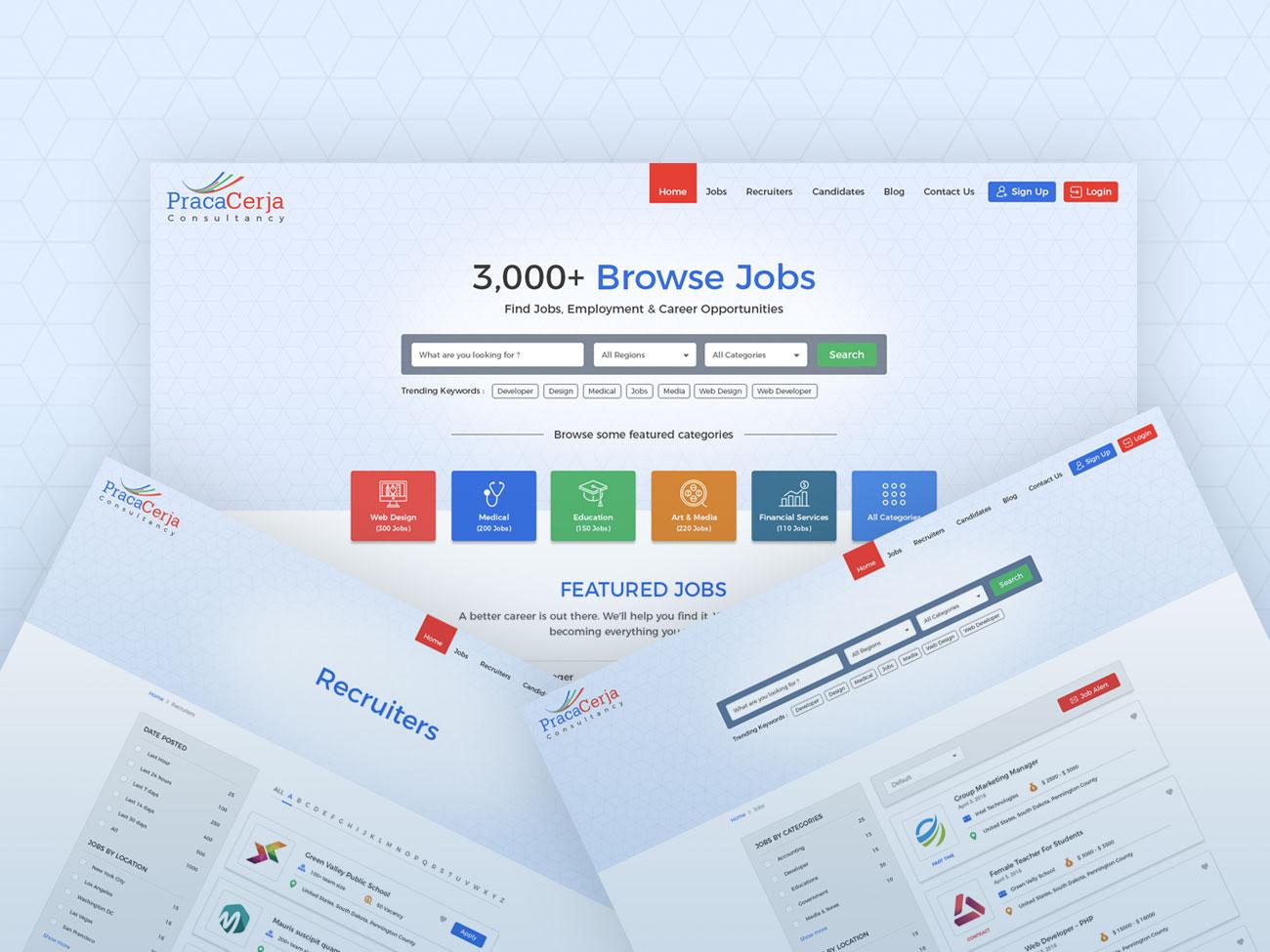 Job Consultancy Website Template hiring job application consultancy job listing job board ui website design website template