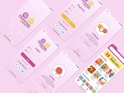 Candy Store Mobile App UI ecommerce app ecommerce ios app ios sign up sign in yummy colorful mobile application sweet candy app ux branding vector design mobile app design mobile app ui