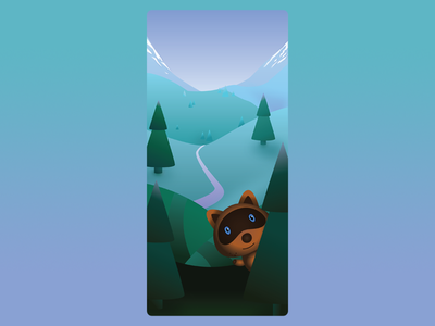 Mobile App Loading Screen Artwork vector illustrator mountainscape mobile app mobile game raccoon forest path nature path illustration