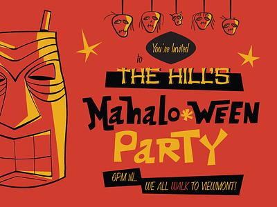 Mahaloween Party Invite halloween hawaiian october invite tiki