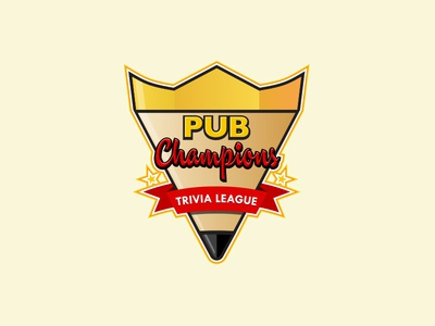 Pub Champions Trivia League Crest crest logo pencil crown trivia