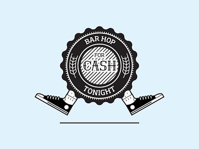 Bar Hop for Cash Badge logo crest badge bar hop illustration beer pub
