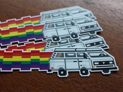 8-Bit VW Westy vw westy westfalia vanagon stickers 8-bit retro