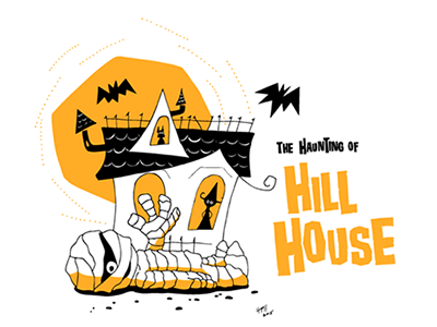 The Haunting of Hill House card halloween illustration pen and ink invite