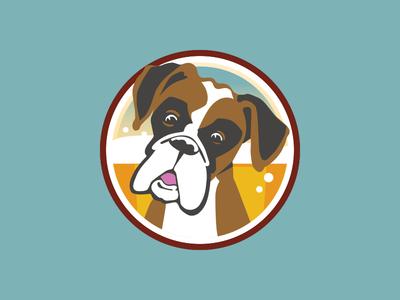 Untappd Badge for Haymaker Public House dog beer boxer badge illustration