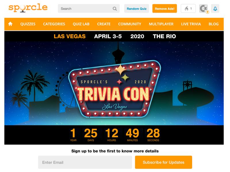 TriviaCon Landing Page countdown timer wall-o-text las vegas event triviacon mobile web webdesign ilustration