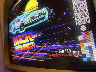 Back to the Amiga: Pixel Art outrun 16-bit 8-bit illustration synthwave delorean pixelart
