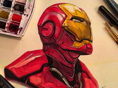 Iron Man Watercolor iron man watercolor paint illustration marvel comics movies film tony stark