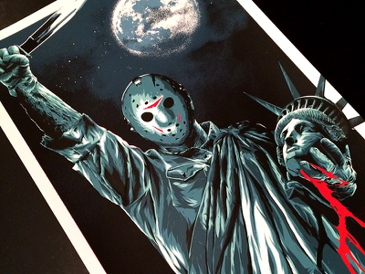 Jason Takes Manhattan jason voorheen friday the 13th horror poster screen print illustration
