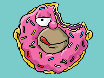 Honut icon illustration the simpsons cartoon fox simpson homer donut honut