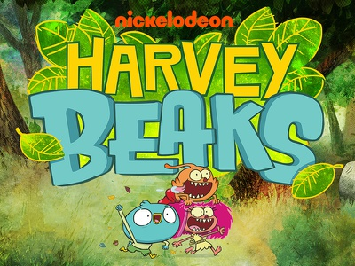 Harvey Beaks Logo illustration design typography cartoon television branding icon logo nickelodeon harvey beaks