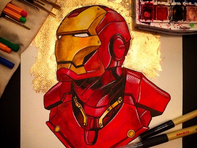 Iron Man Watercolor Commission traditional ink gold foil illustration comics marvel iron man painting watercolor