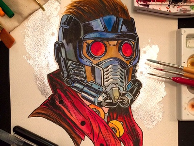 Starlord Watercolor Commission traditional ink gold foil illustration comics marvel guardians of the galaxy starlord painting watercolor