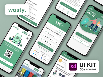 Mobile App for Recycling Habits UX/UI | Free download android ios interaction green nature flat application free download concept recycling adobe xd freebie app mobile ux ui