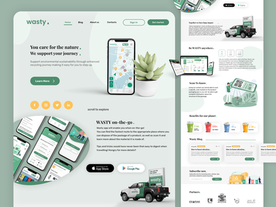 Landing Page - Wasty. | UX/UI Design web clean homepage website recycle habits recycling landingpage ux ui web design landing page