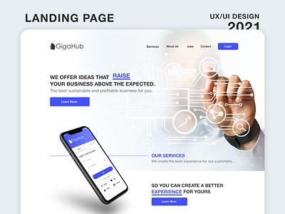 Landing page | Gigahub - UX/UI Design 2021 light layout landingpage interface adobe xd tech cloud ui ux services hosting redesign website landing page