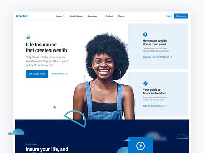 Website Header Exploration homepage blue layout exploration grid blocks parralax financial services desktop life insurance insurance website fintech