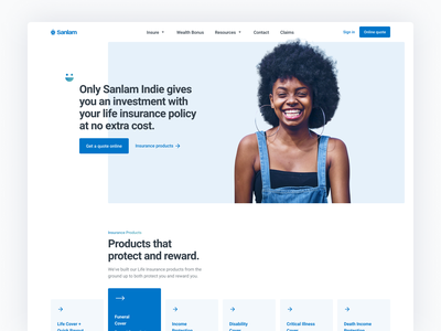 Website Header Exploration Off Grid financial services homepage layout exploration layout grid layout blue website design grid cards website header insurance fintech website