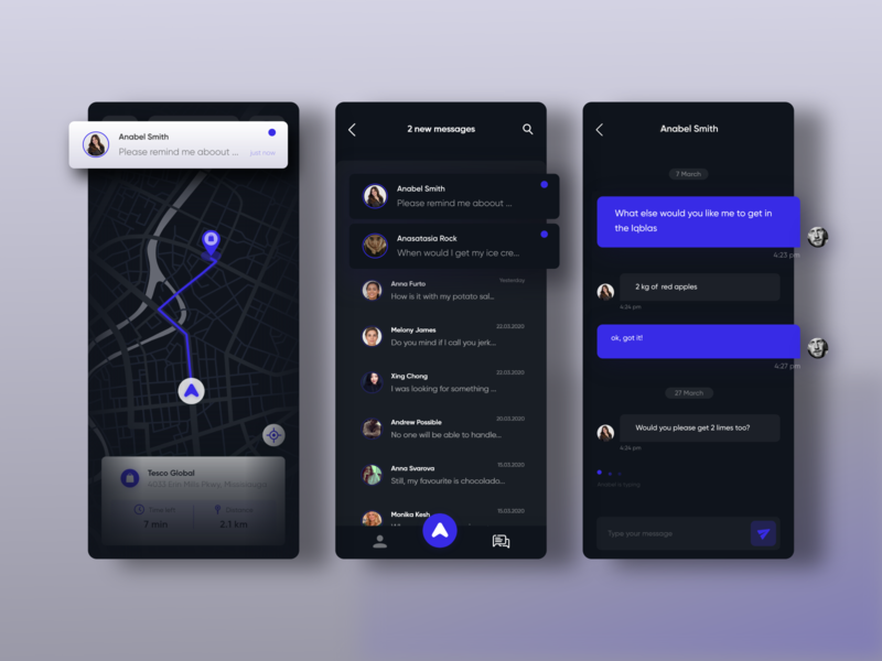 Chat screens from the delivery app minimal interaction dark ui nightmode darkmode message roadmap map delivery chat app
