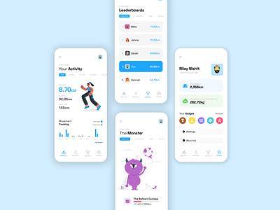 Velocipede - Activity Tracker leaderboard profile app workout app workout activity tracker concept ux ui