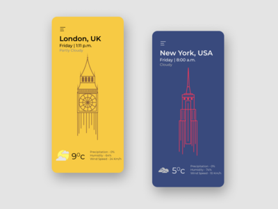 Daily UI 37 - Weather figma cloudy new york london weather line art illustration vector ux app concept ui daily ui