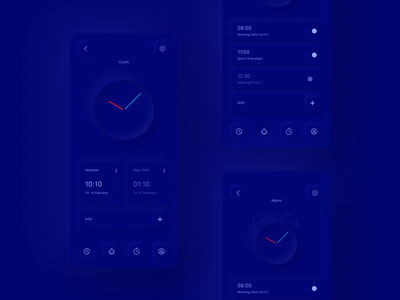 Skeuomorphic Clock App Dark mobile stopwatch app timer app clock blue application alarm clock alarm ux skeuomorphism neomorphism design app