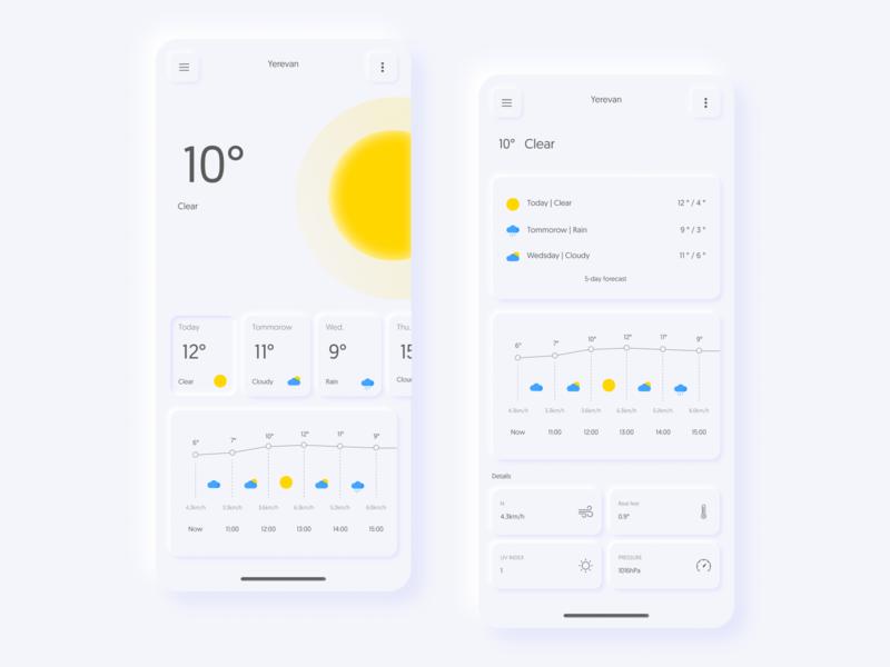 skeuomorphism weather app
