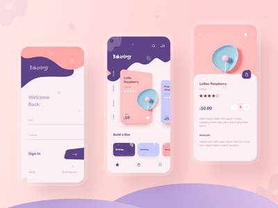 Bakeology - A Bakery App Concept minimal typography trending product design product page bread cake candy pastel sweet shop sweet bakery app bakery app ui mobile app mobile ui illustration design ux ui