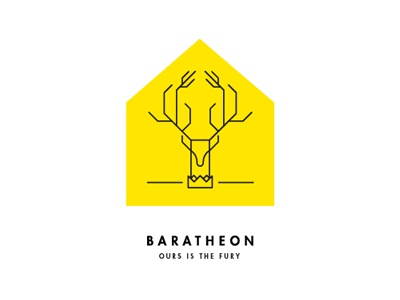 A Song of Ice and Fire / Game of Thrones / Baratheon house sigil fantasy crest sigil minimal modern
