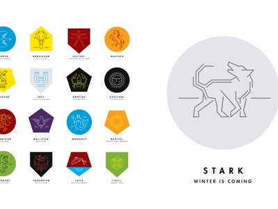 Song of Ice and Fire / Game of Thrones / House Sigils fantasy crest modern minimal sigil