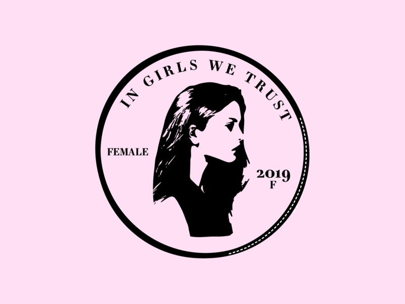 In girls we trust logo design ui illustration