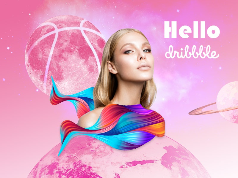 Dribbble Hello! creativity digital art galaxy saturn moon dribbble planet earth poster art design hello hello dribbble