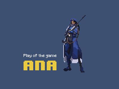 Pixel Ana game art ana pixel art overwatch