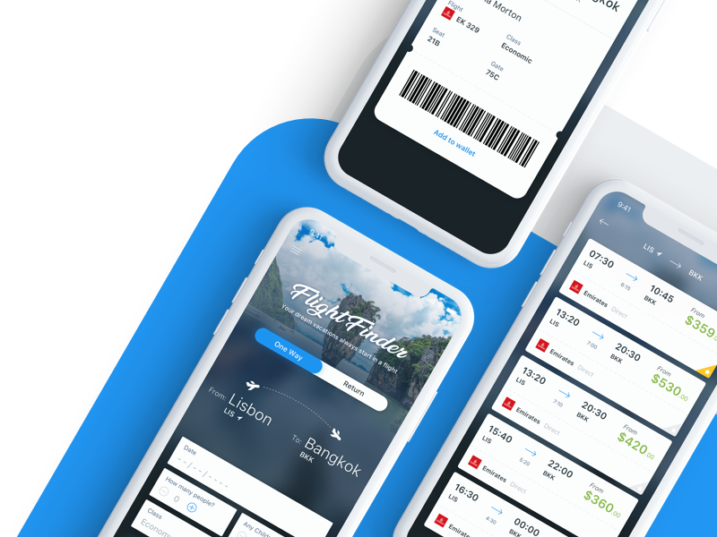 Flight Finder boarding pass ticket cards iphone x mobile app travel flight outsystems