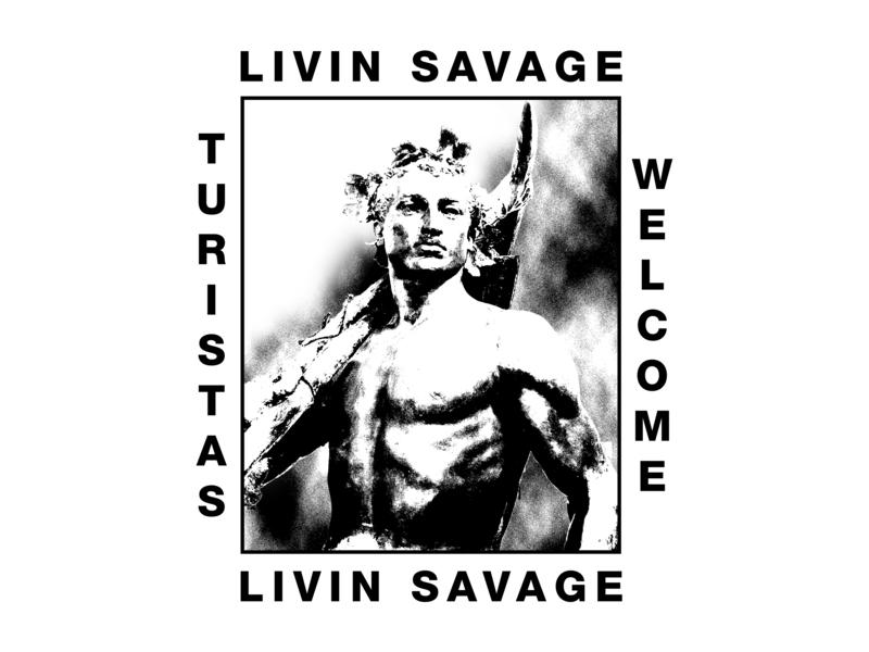 Livin Savage Tee - Estatua de La Alegoría del Trabajo de Málaga guerrilla punk turism spain malaga t-shirt design tee typography acid poster texture design