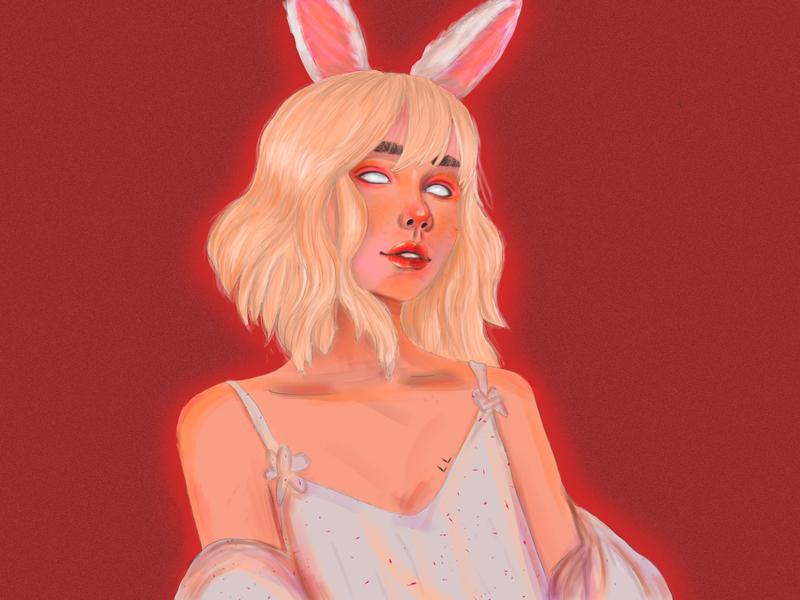 Mysterious anime girl tender white rabbit bunny ears red anime girl girl anime adobe artist digital art adobe photoshop portrait artwork art vector digital painting digital illustration