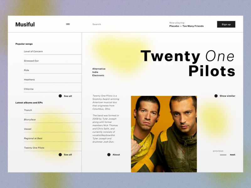 Page for Music App typography website web ui minimal design app