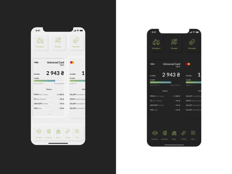 Mobile Banking App (concept) skeuomorphism finance app banking ui app minimal design