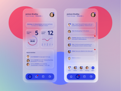 Project Communication App UI notification feed messenger chart project management mobile app design ui