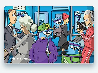 Transport card avito underground animals people metro transport card illustration