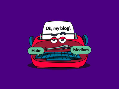 Oh, my blog! thompson print typewritter blogger developers illustration