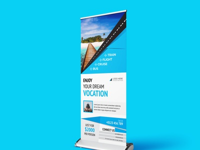 Travel agency Roll Up banner design template corporate company agency offer promotion holiday travel agency traveling signature banner roll up banner design roll up banner