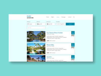 Book a hotel Page Design