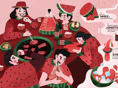 Watermelon Soju Infographics pink soju watermelon lettering humans infographics design typography illustration
