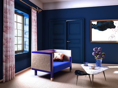 Render with blue armchair