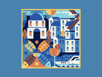 Square Illustratoon - Santorini (Greece)